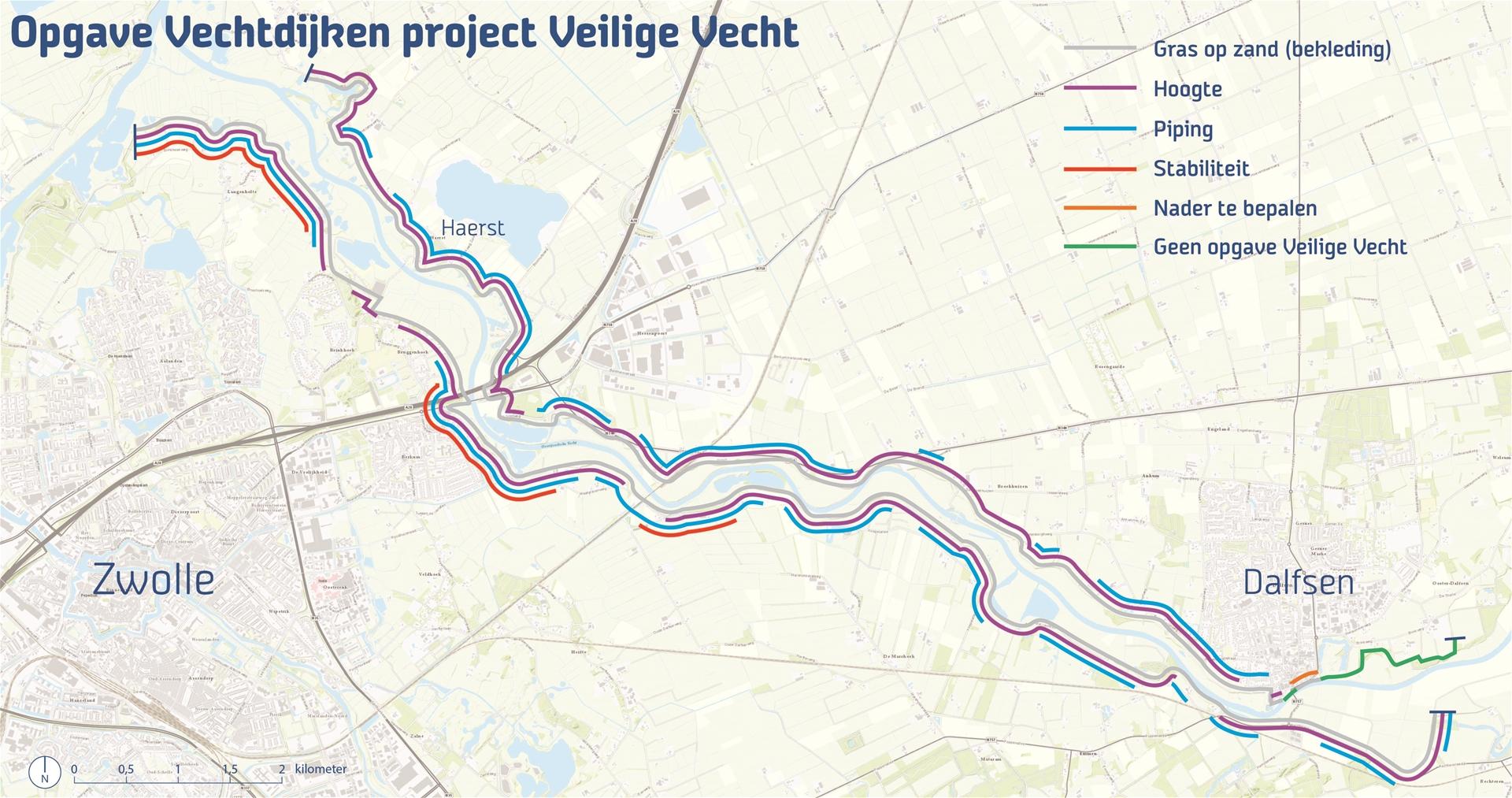 Op deze kaart zie je om welk gebied het gaat en wat er met de dijk aan de hand is.
